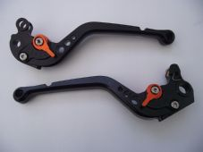 KTM 640 Supermoto CNC levers set long black alloy & orange adjusters DB12/C31